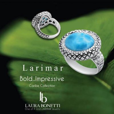 Larimar caribe collection ring with logo